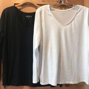 Loft {2} Long Sleeved Tops Black White XL